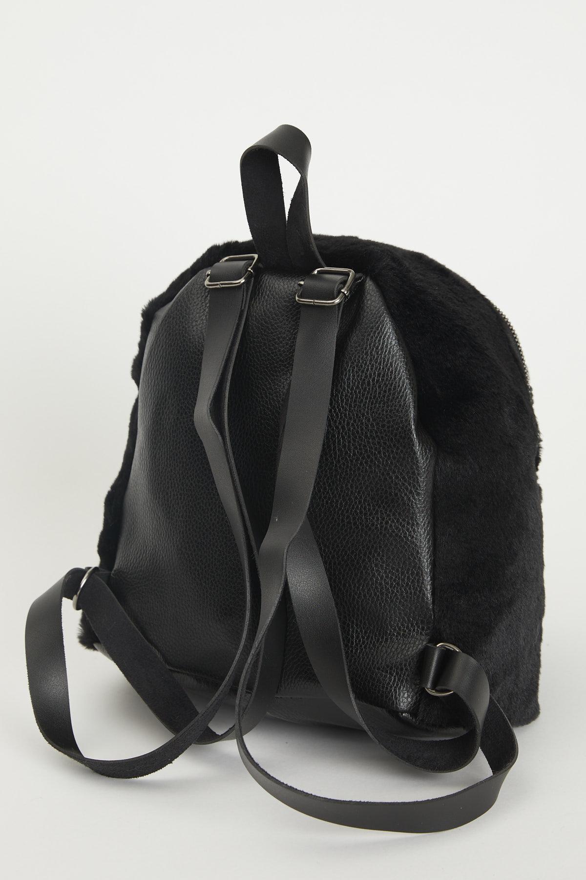 حقيبة ظهر فرو أسود مفصل بسحاب سلسلة نسائية