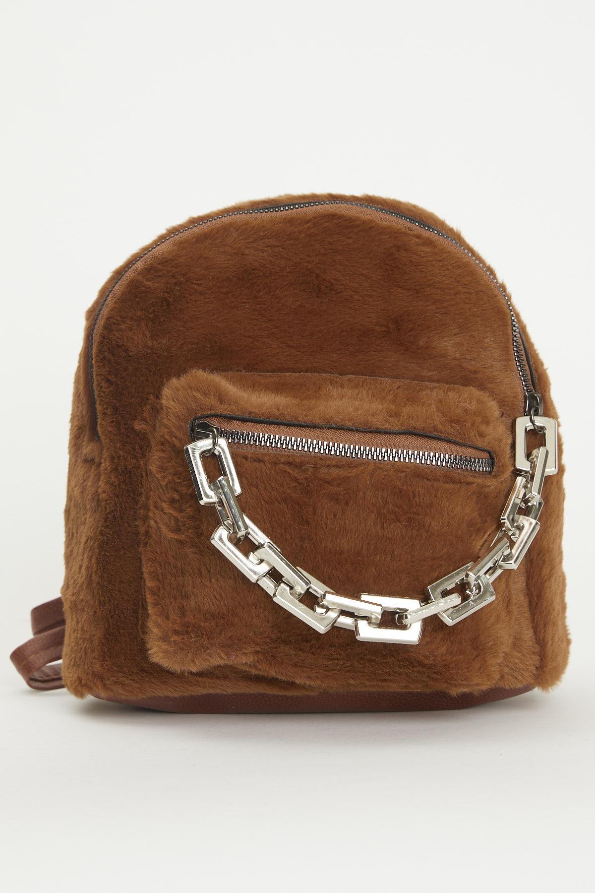 حقيبة ظهر فرو بني فاتح مفصلة بسلسلة نسائية