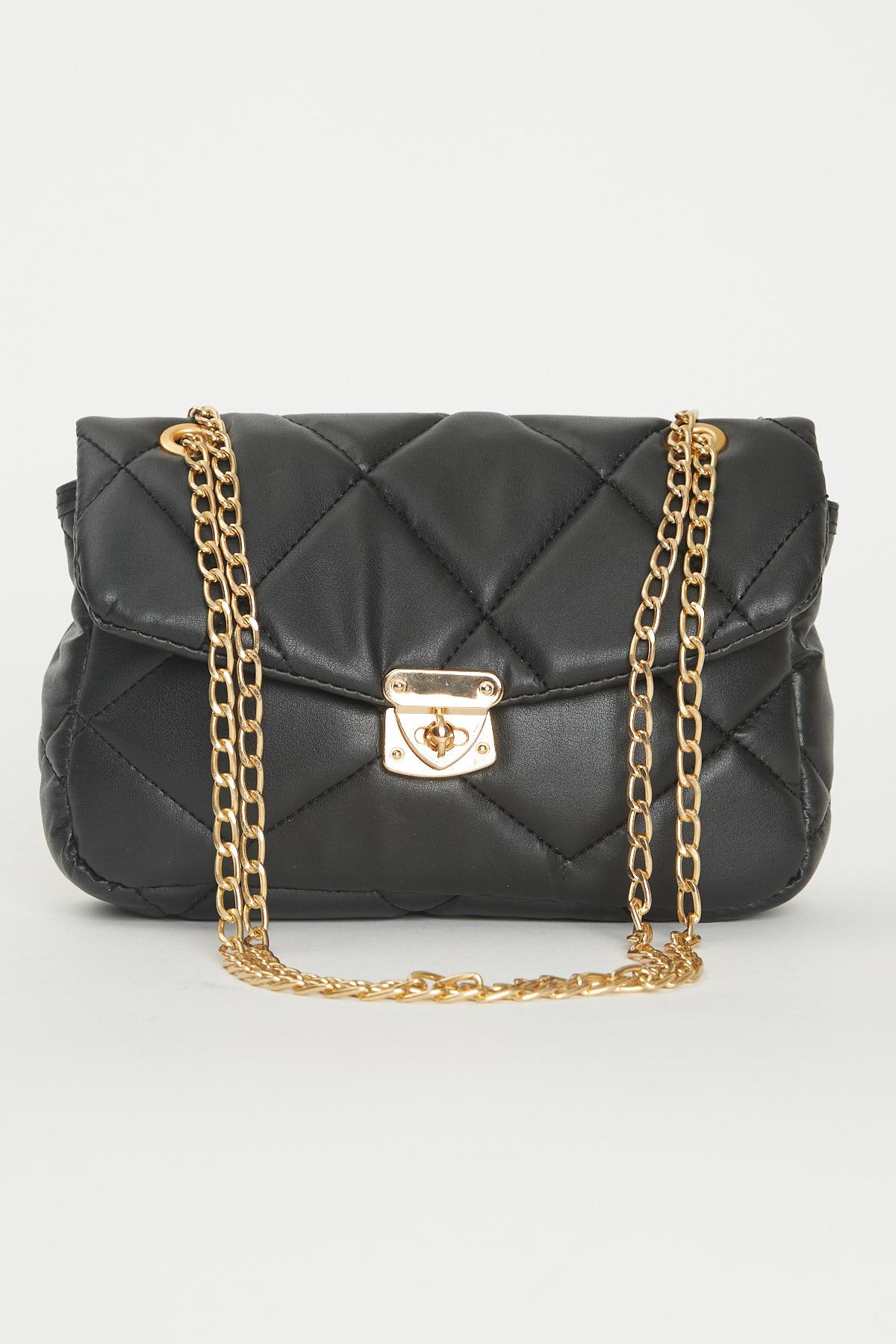 حقيبة كروس بودي مبطنة سوداء مفصلة بسلسلة نسائية