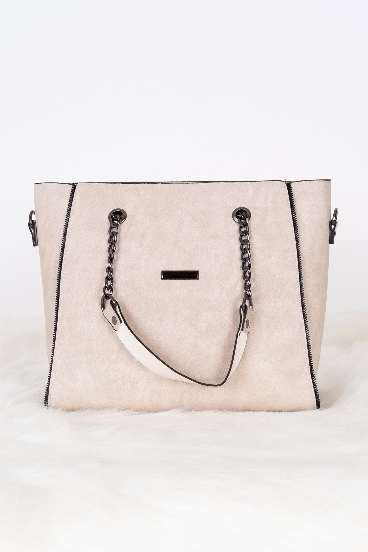 حقيبة يد بيج غامق مفصلة بسلسلة نسائية