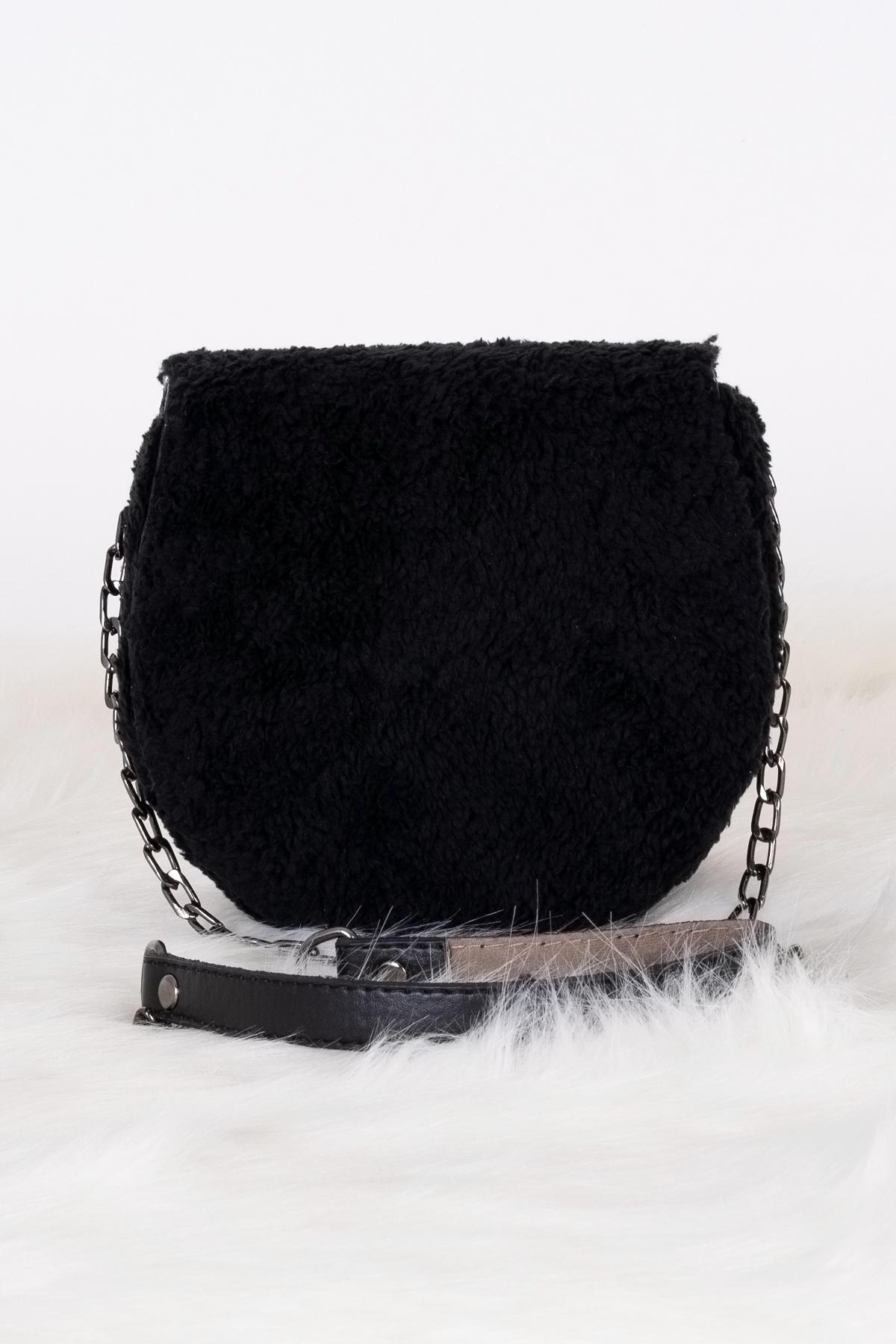حقيبة كروس بودي فرو سوداء مفصلة بسلسلة نسائية