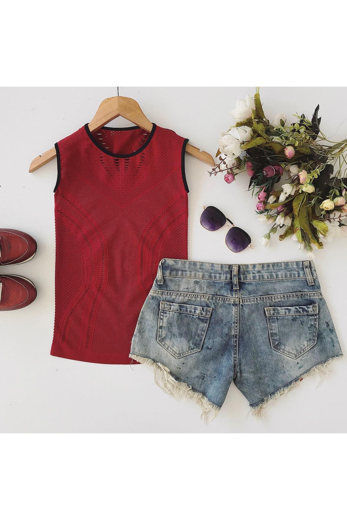 Women's Sleeveless Mesh Detail Red T-shirt