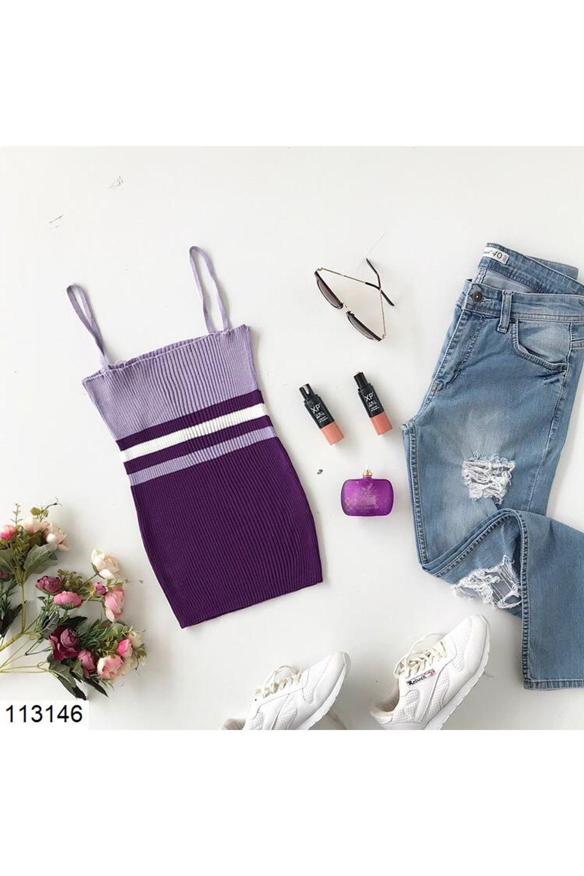 Women's Strappy Striped Purple Tricot Blouse