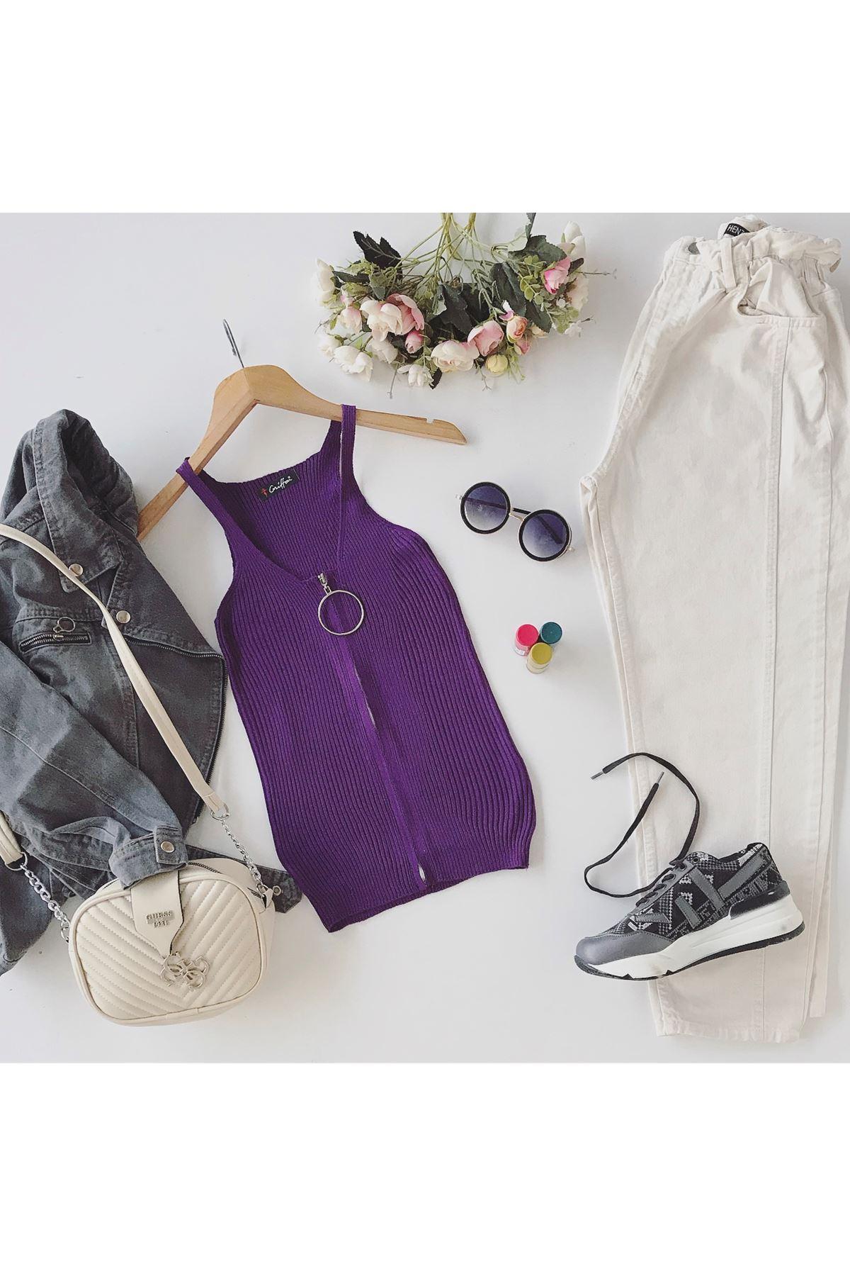 Women's Zipped Purple Tricot Blouse