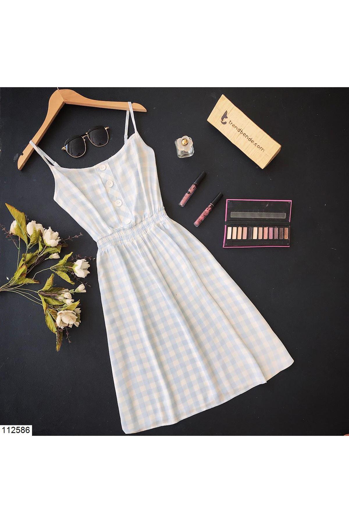 فستان قصير أبيض أزرق فاتح بمربعات وأزرار أمامية نسائي
