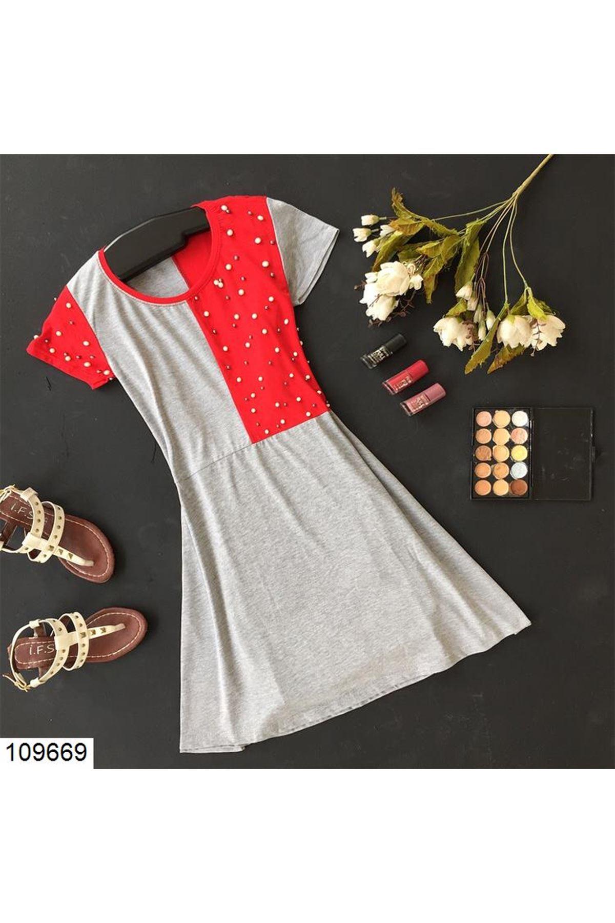 فستان قطن واسع بفصوص لؤلؤ نسائي