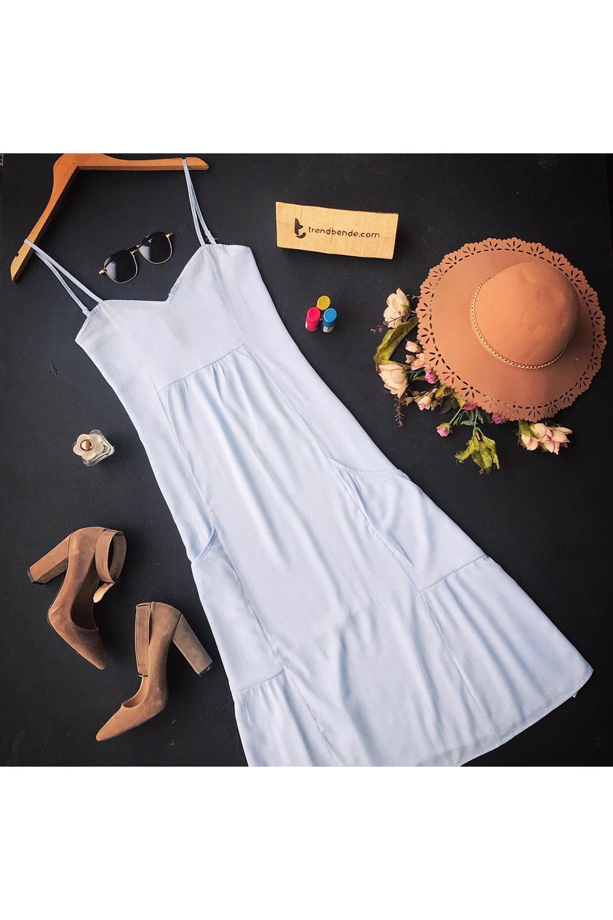 فستان أزرق فاتح بجيوب وحمالات نسائي