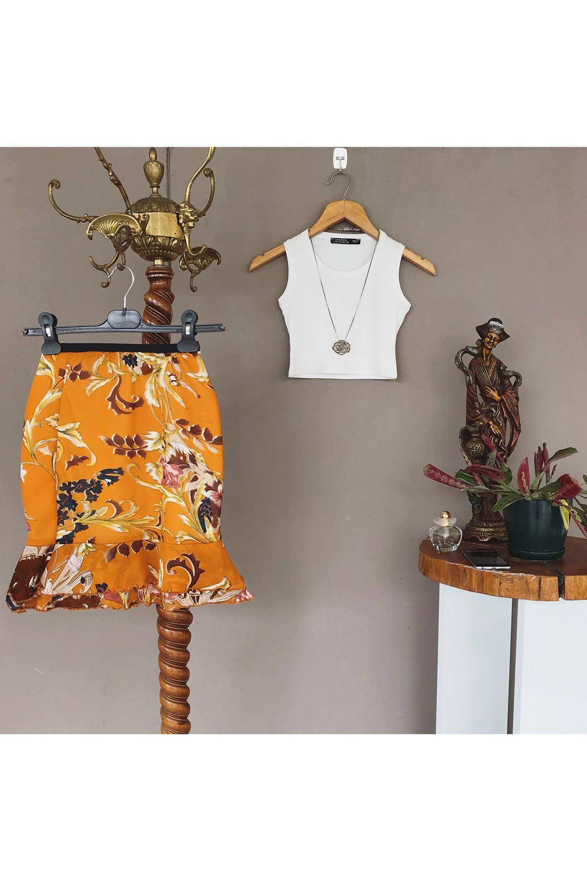 Women's Floral Pattern Short Skirt