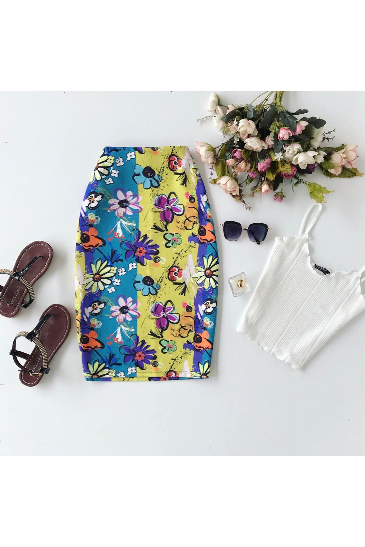 Women's Floral Pattern Short Pencil Skirt