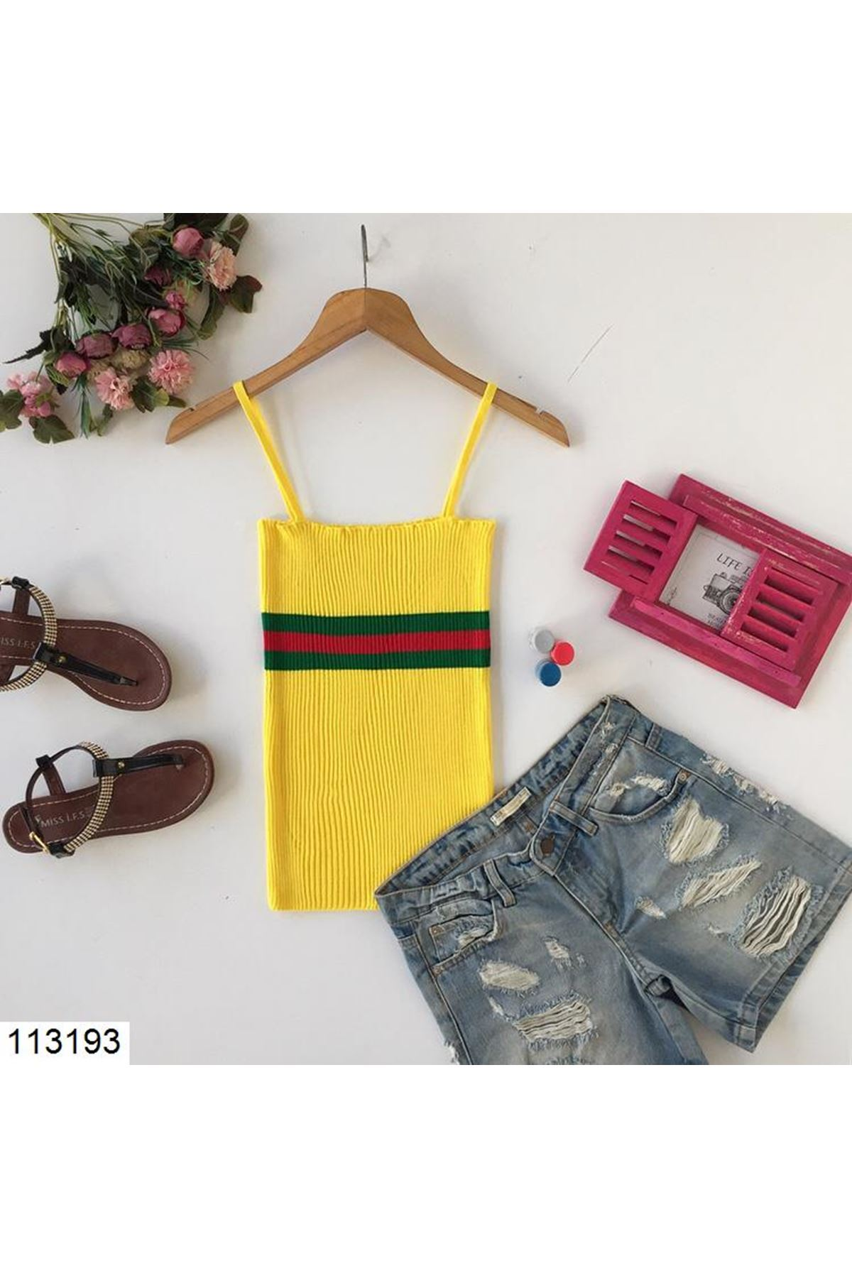 Strappy Striped Yellow Tricot Blouse