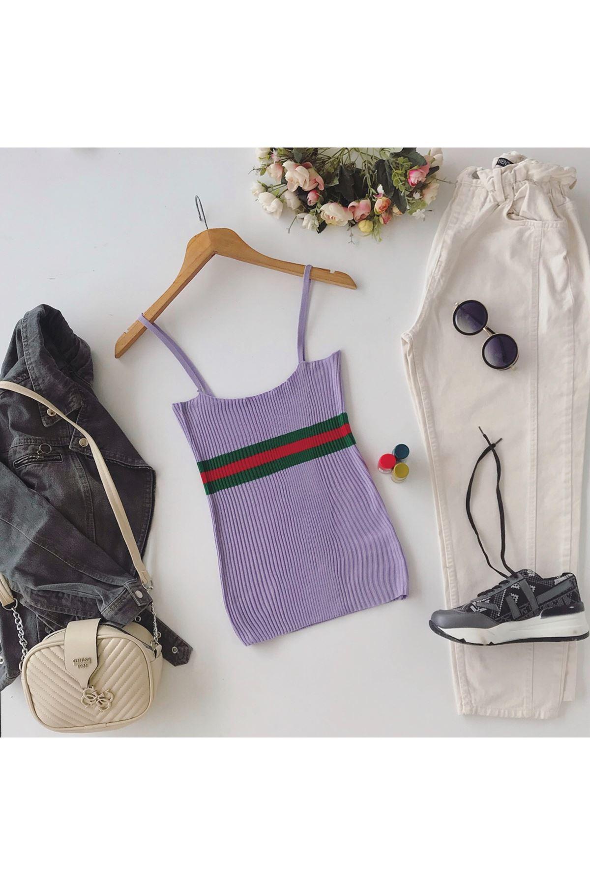 Women's Strappy Striped Lilac Tricot Blouse