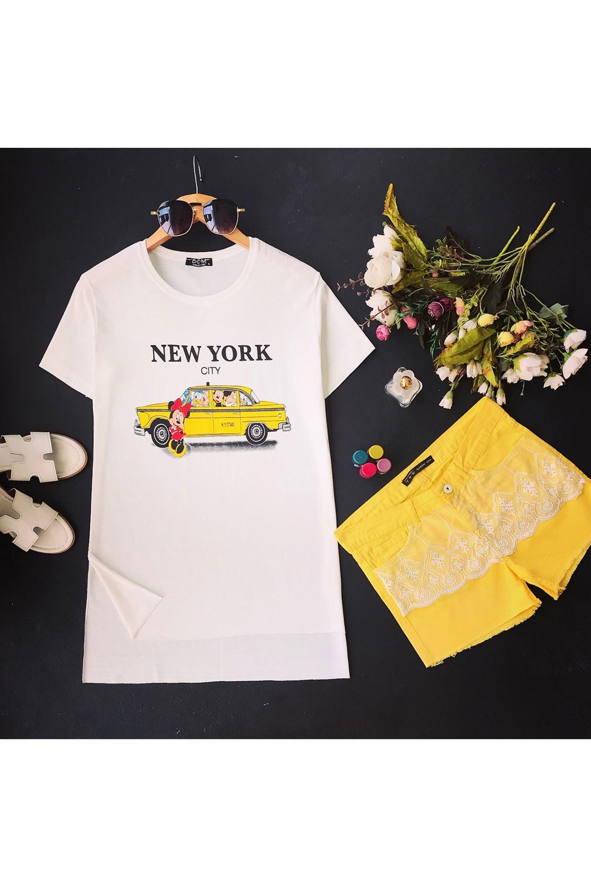 Women's Printed Slit Ecru T-shirt