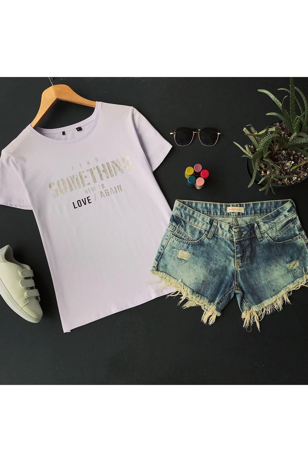 Women's Printed Lilac T-shirt
