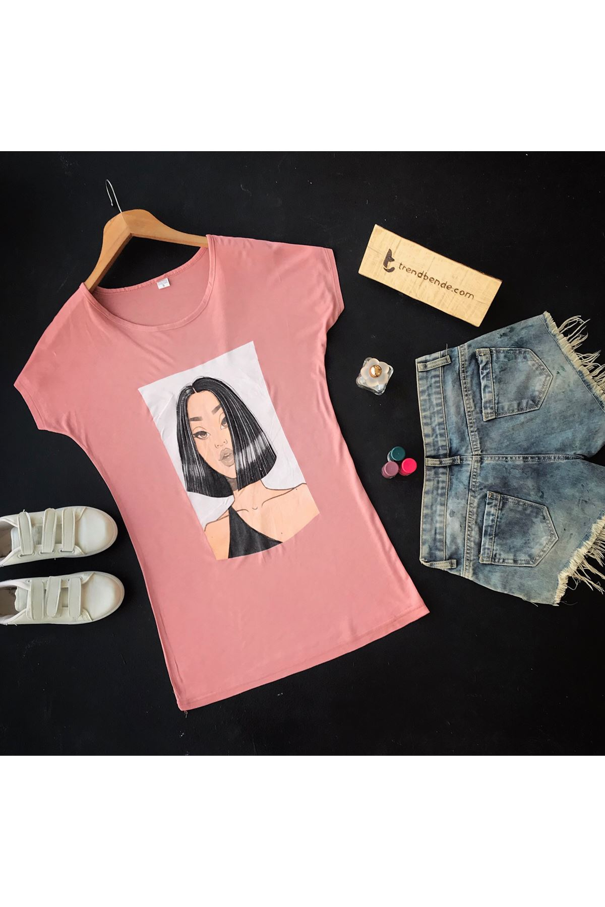 Women's Printed Salmon T-shirt