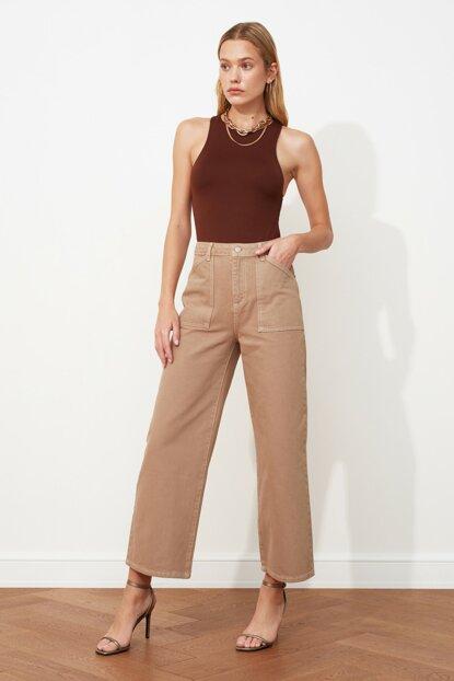 Women's High Waist Pocket Wide Leg Jeans