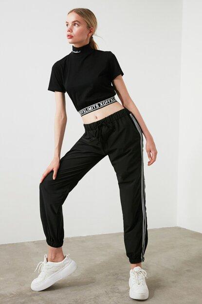 Women's Side Striped Black Sport Pants