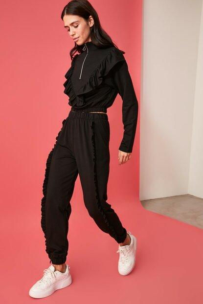 Women's Frill Black Sport Pants