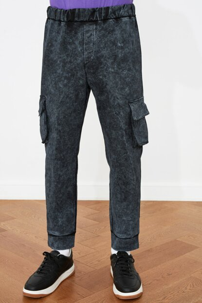 Men's Cargo Pocket Black Sport Pants