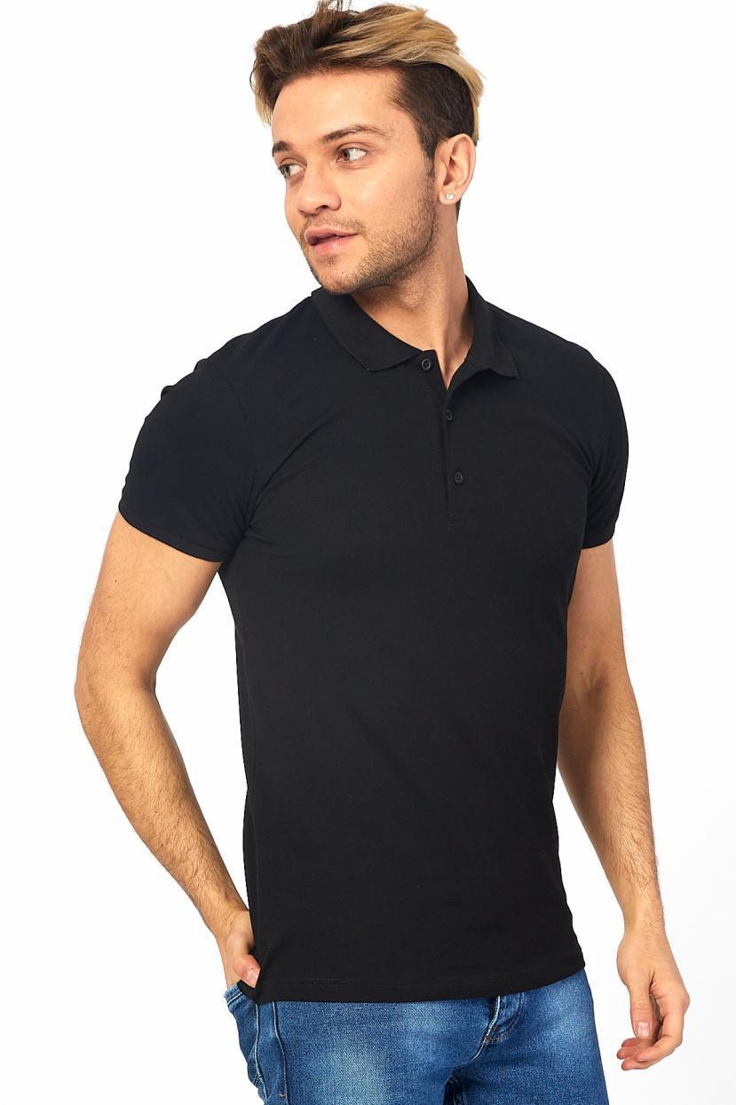 Men's Polo Collar Black Lycra T-shirt