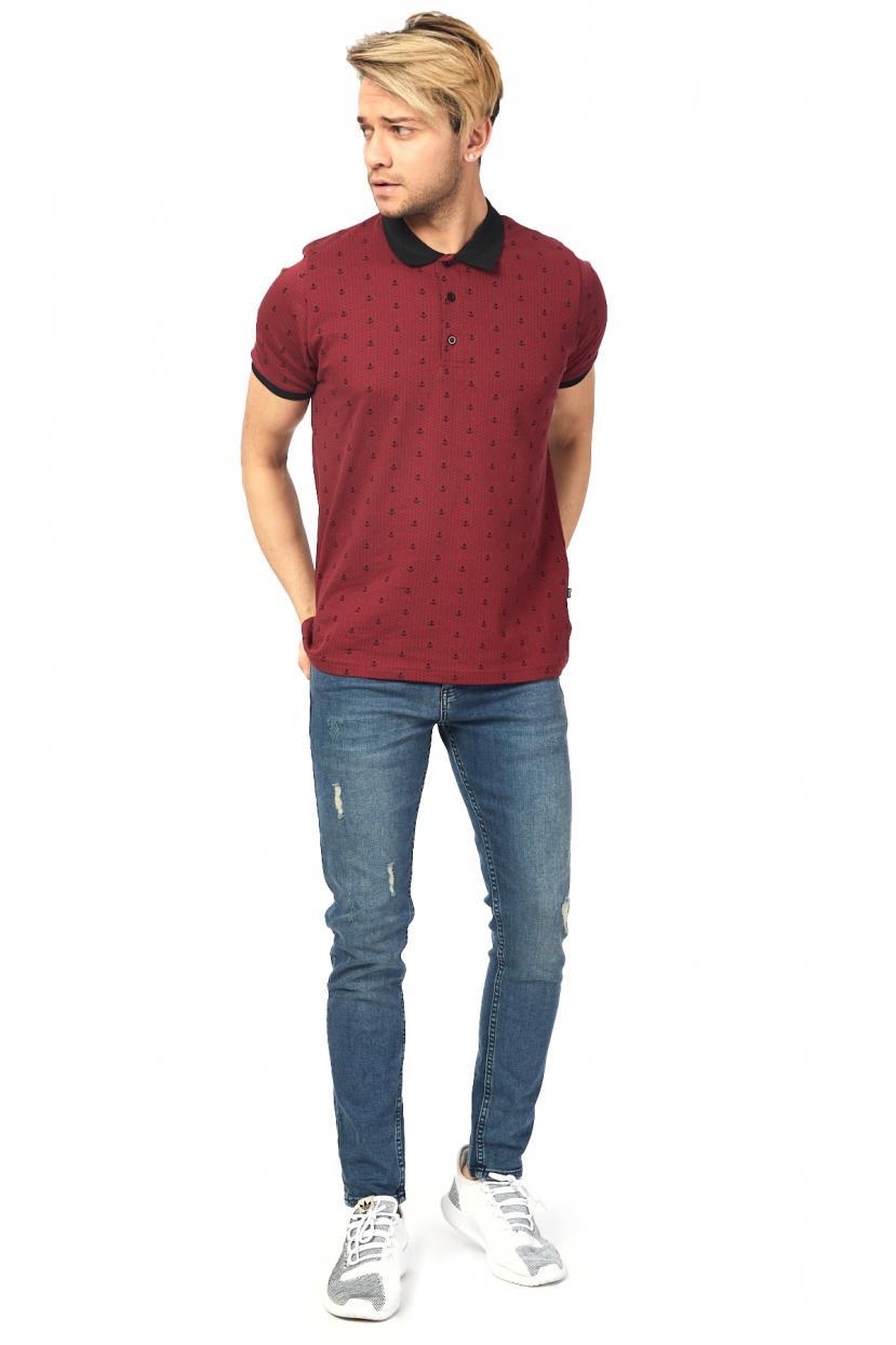 Men's Oversize Printed Claret Red T-shirt
