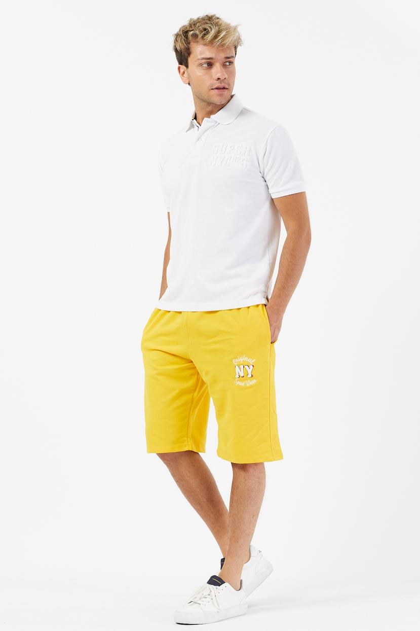 Men's Embroidered Grey Combed Cotton Shorts