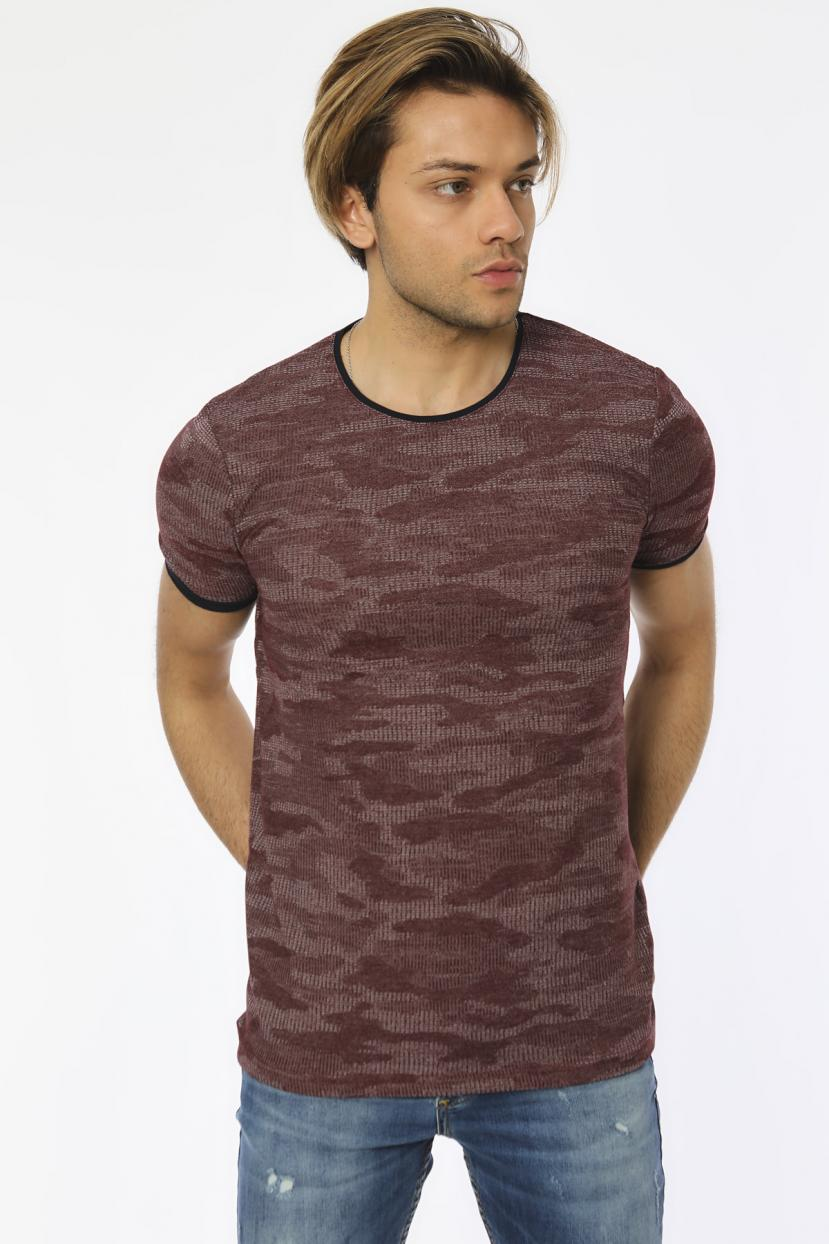 Men's Camo Pattern Damson T-shirt