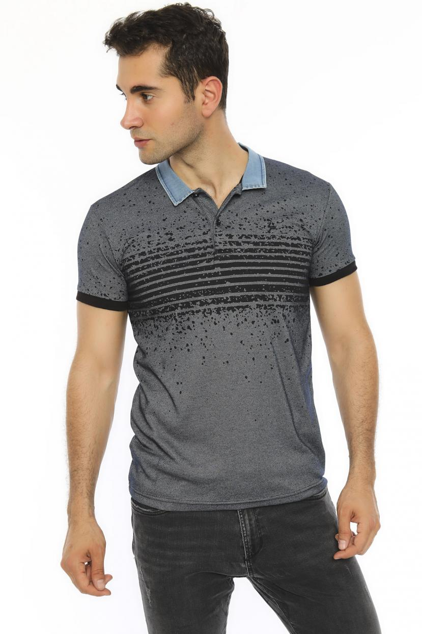 Men's Polo Collar Smoky Slim Fit T-shirt