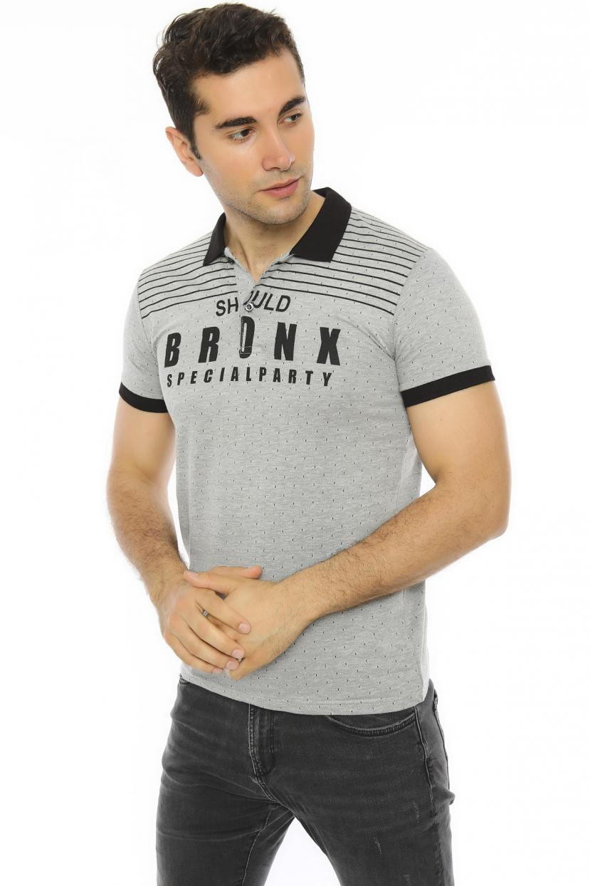 Polo Collar Printed Grey Slim Fit T-shirt