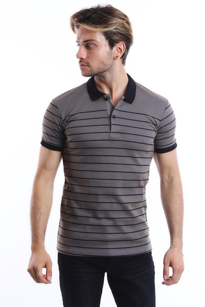 Men's Polo Collar Striped Grey Slim Fit T-shirt