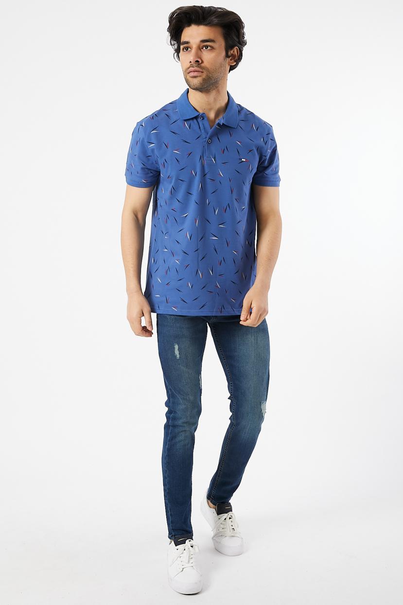 Men's Oversize Polo Collar Printed T-shirt