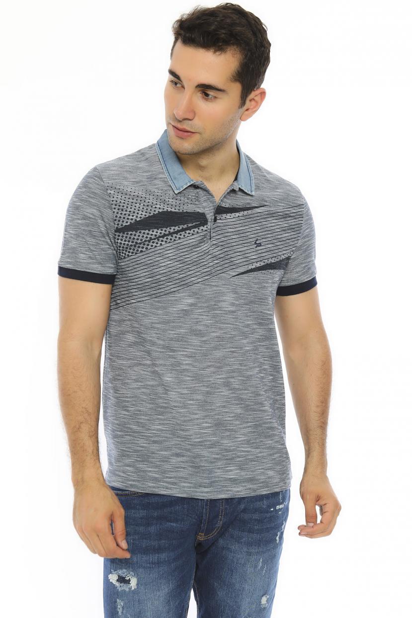 Men's Oversize Polo Collar Grey T-shirt