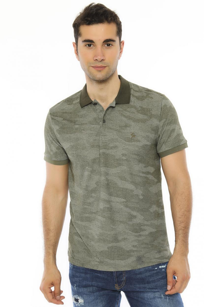 Men's Oversize Polo Collar Green T-shirt