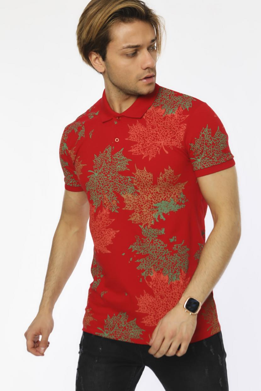 Men's Polo Collar Printed Red Slim Fit T-shirt