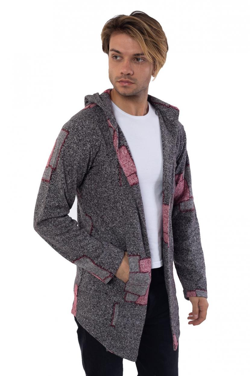 Men's Hooded Patterned Grey Fleece Cardigan