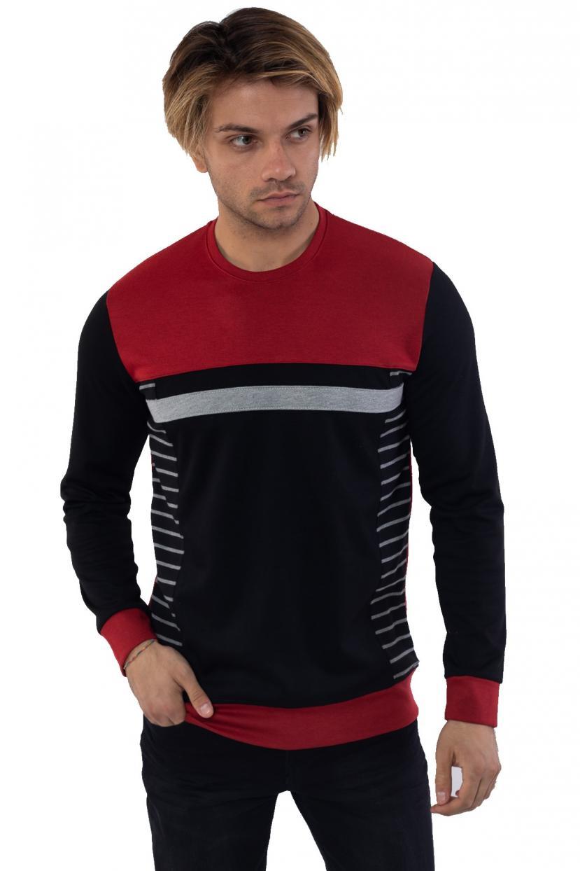 Men's Collarless Red Black Sweatshirt