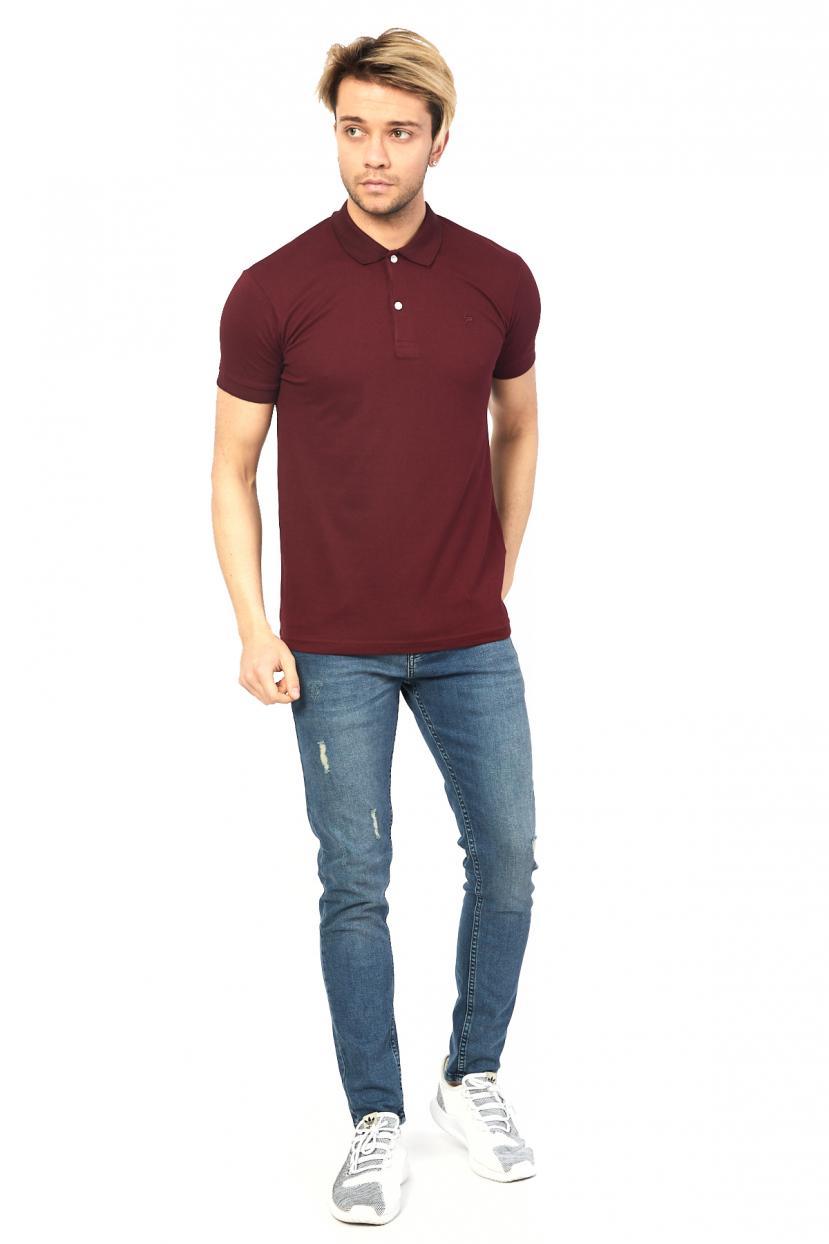 Men's Polo Collar Claret Red Lycra T-shirt