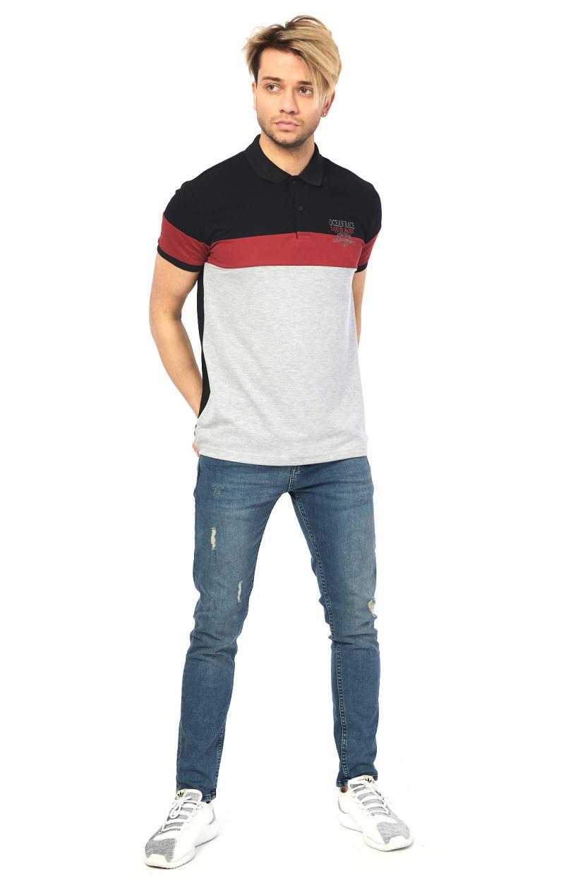 Men's Polo Collar Color Block T-shirt