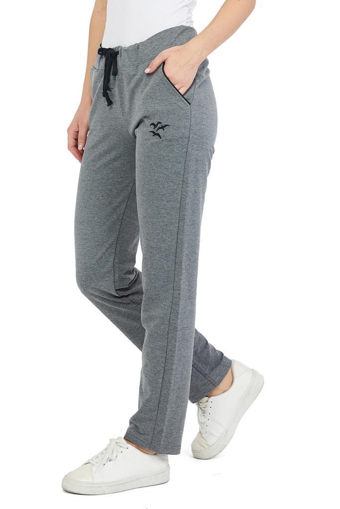Women's Plain Grey Combed Cotton Sweatpants