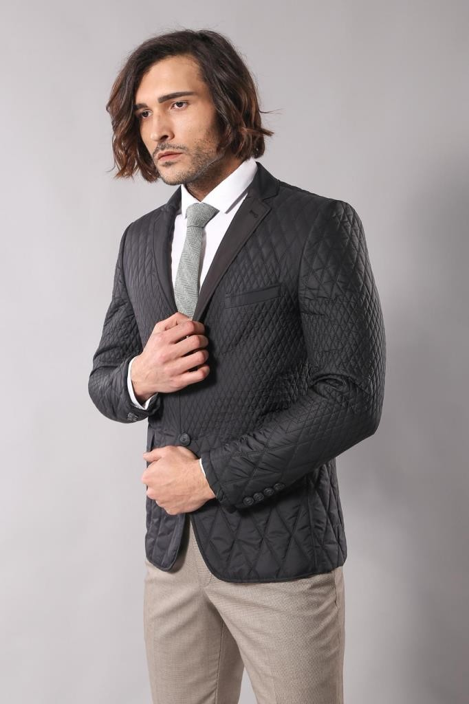 Men's Black Quilted Jacket