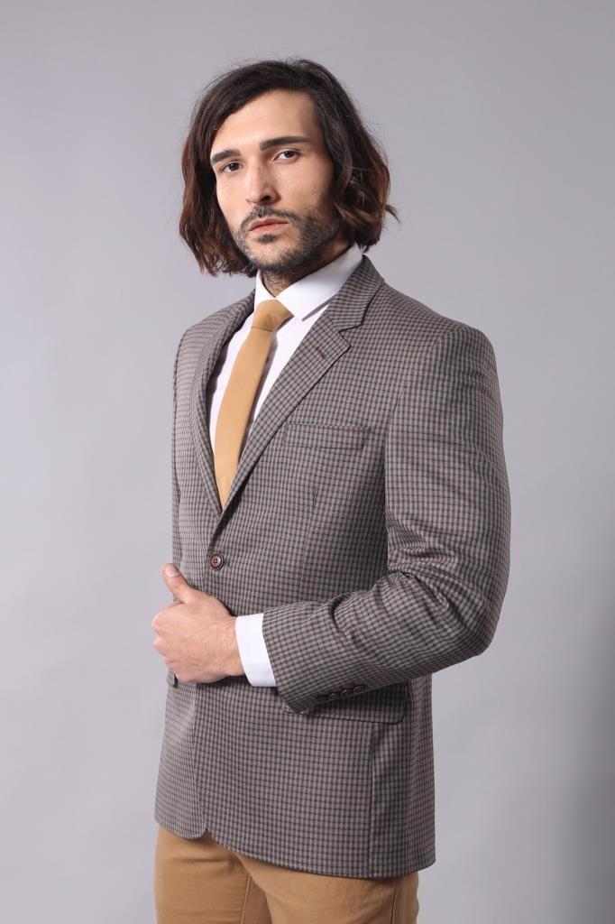 Men's Patterned Brown Jacket