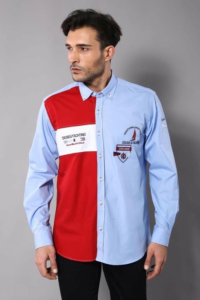 قميص بطبعة شعار و أزرار رجالي