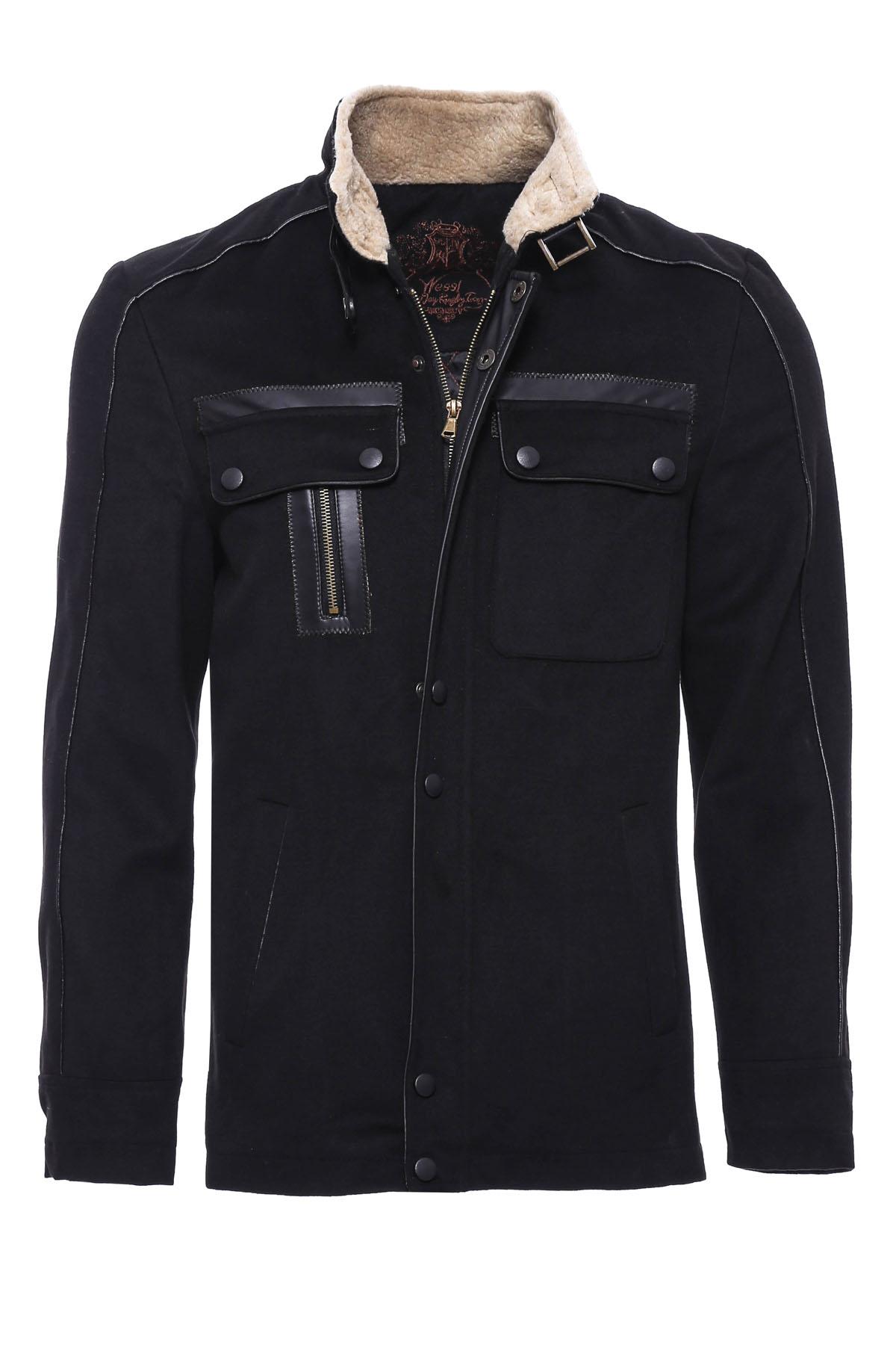 Men's Furry Collar 4 Pocket Black Coat
