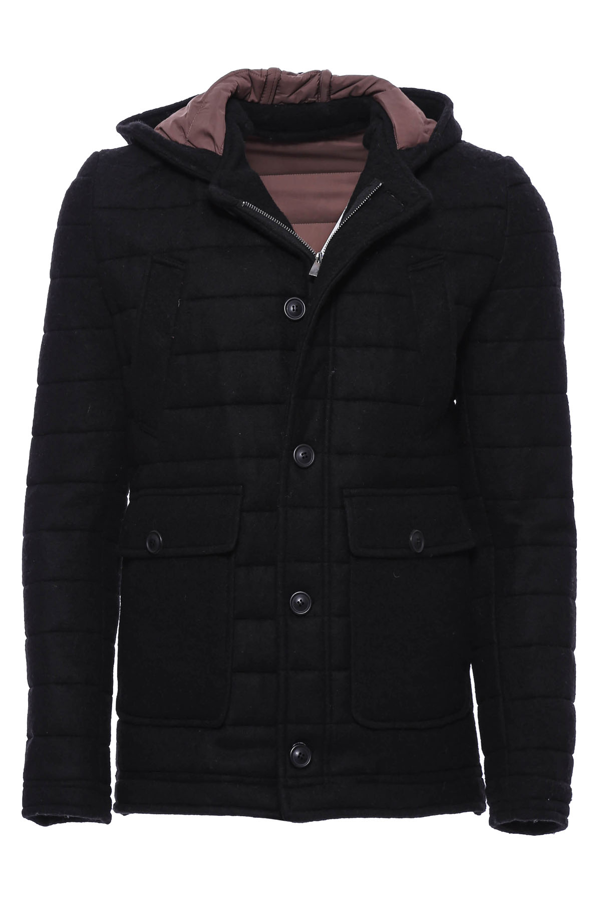 Men's Hooded Black Felt Coat
