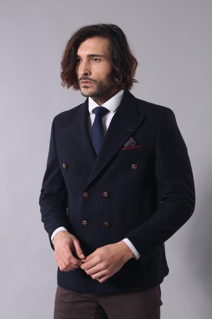 Men's Wrap Navy Blue Slim Fit Jacket