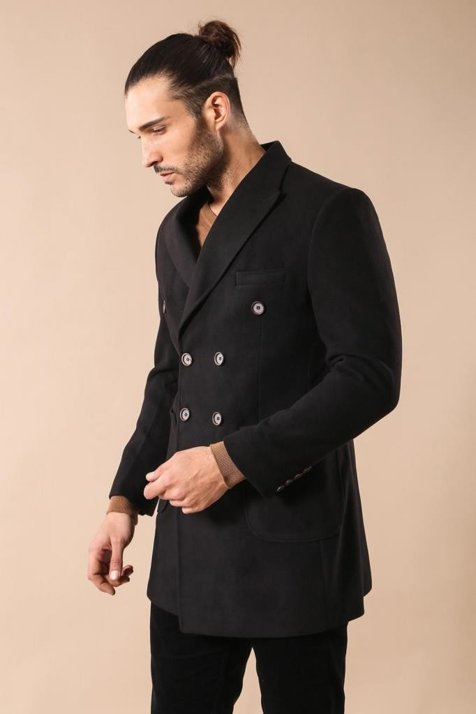 Men's Wrap Short Black Coat