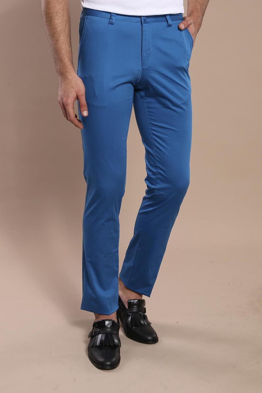 Men's Pocket Blue Cotton Slim Fit Pants