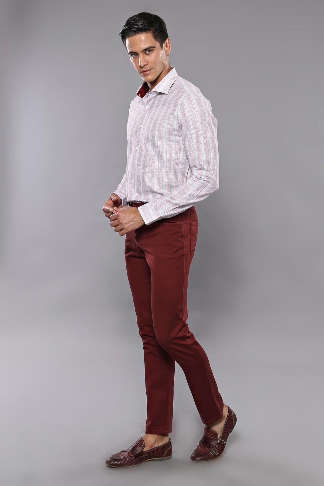 Men's Pocket Plain Claret Red Pants