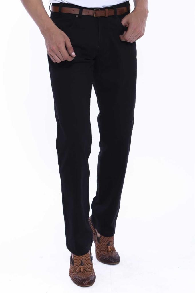 Men's Flap Pocket Black Suede Pants
