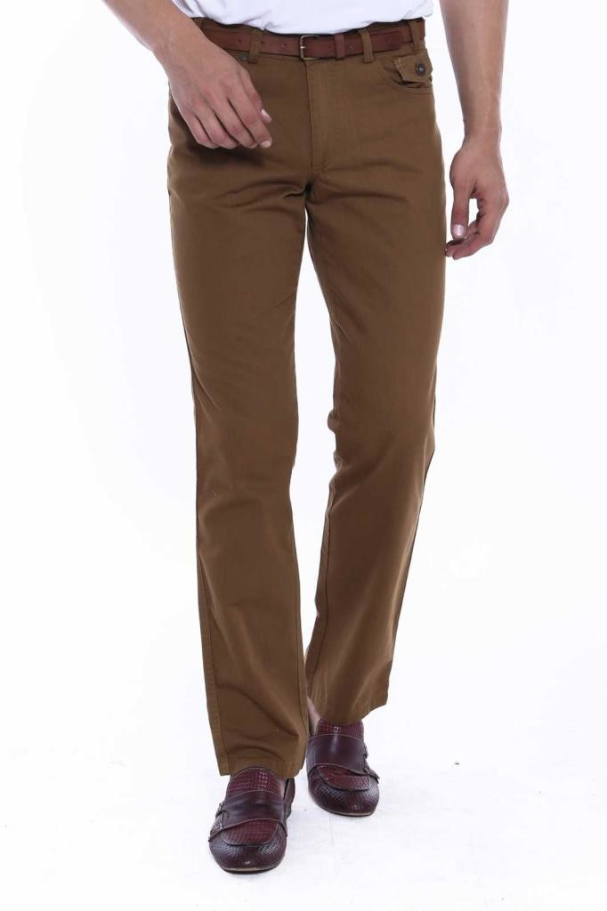 Men's Flap Pocket Brown Suede Pants