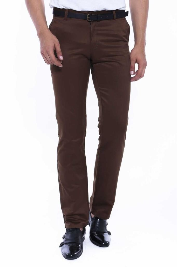 Men's Back Pocket Half-Pleated Brown Pants